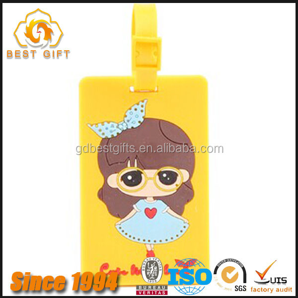 PVC silicone luggage tag high quality handbag tag for kids