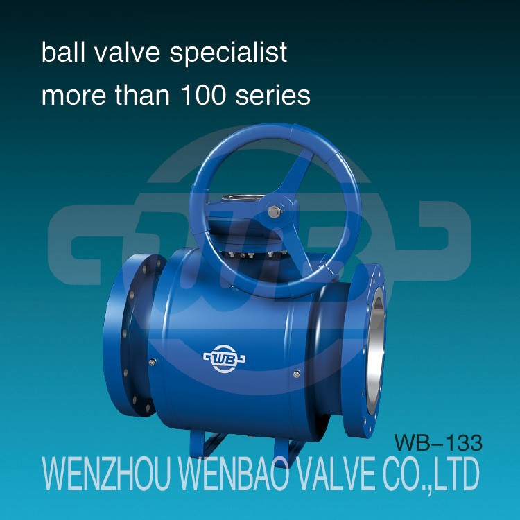WB-133 API trunnion mounted fully welded flanged steel ball valve /all welded ball valve china price /gear operated ball valve