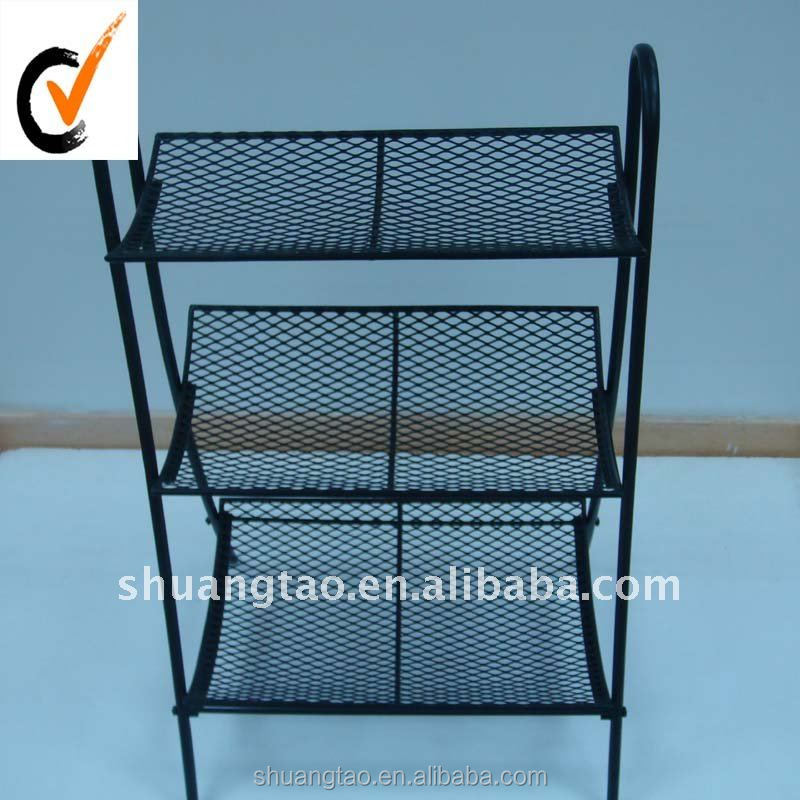 Three tiers iron powder coating shoe rack, metal shoe shelf