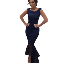 2015 plus size Blue Tulle Fishtail Sleeveless Long Party dinner dresses for women
