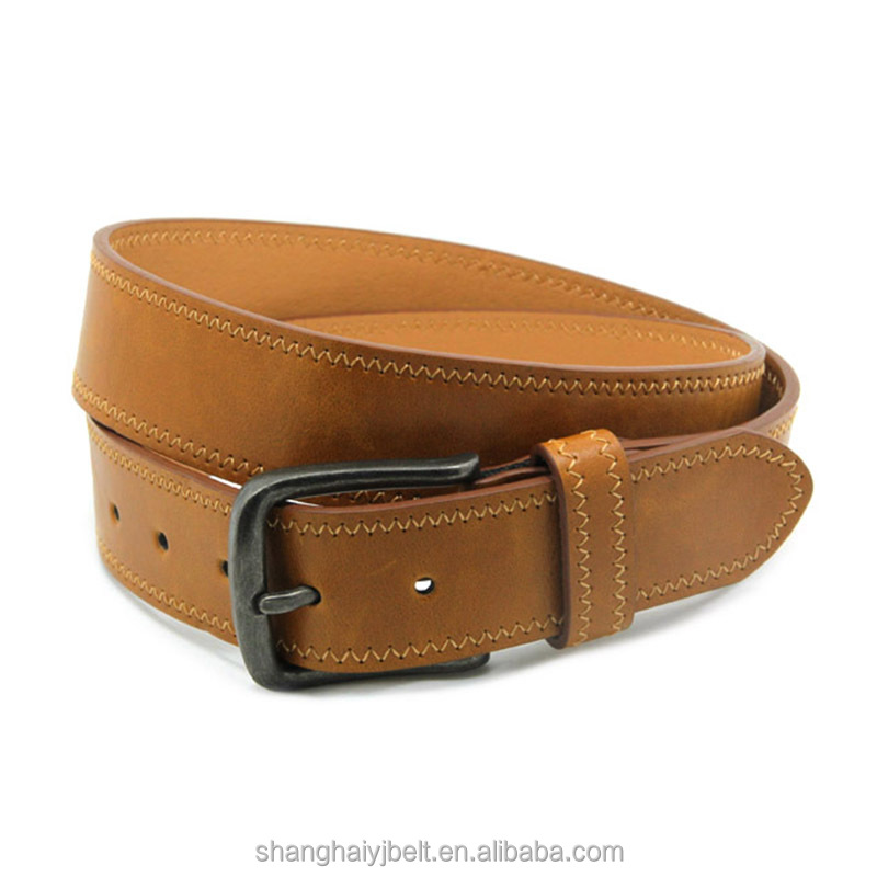 Fashion classic route design yellow brown pu leather men wide belt