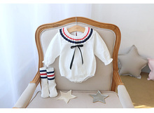 New Fashion Cape Collar Baby Cotton Girl Romper Onesie With Socks