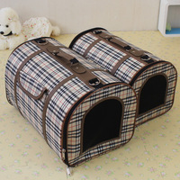 Super quality fashionable best luxury grid pet dog backpack pet cages portable dog carrier bag