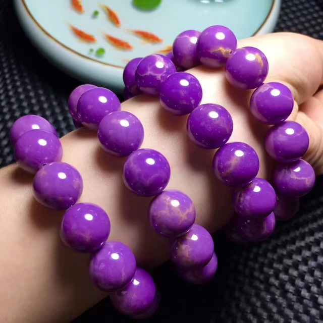 13-14mm fashion rare large particles of natural purple mica gemstone single circle bracelet jewelry healing