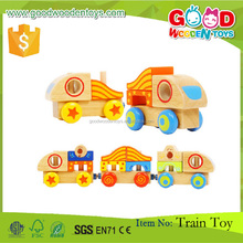 New Design Wood Children Game Colorful Kids Educational Block 15pcs Colorful Wooden Magnet Train Toy
