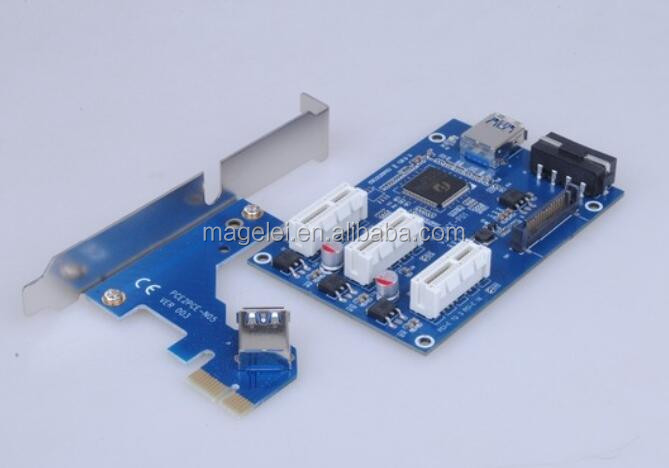 mini pcie 1 to 3 pcie 1x Multiplier adapter card