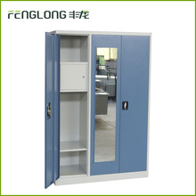 cold rolled steel customized 3 door with mirror hanging cloth storage 3 tie steel locker cabinet