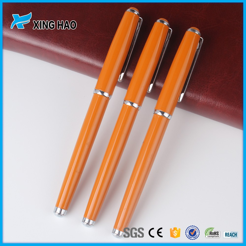 High quality personalized orange metal roller pen ballpoint pen custom ball pen manufacturer