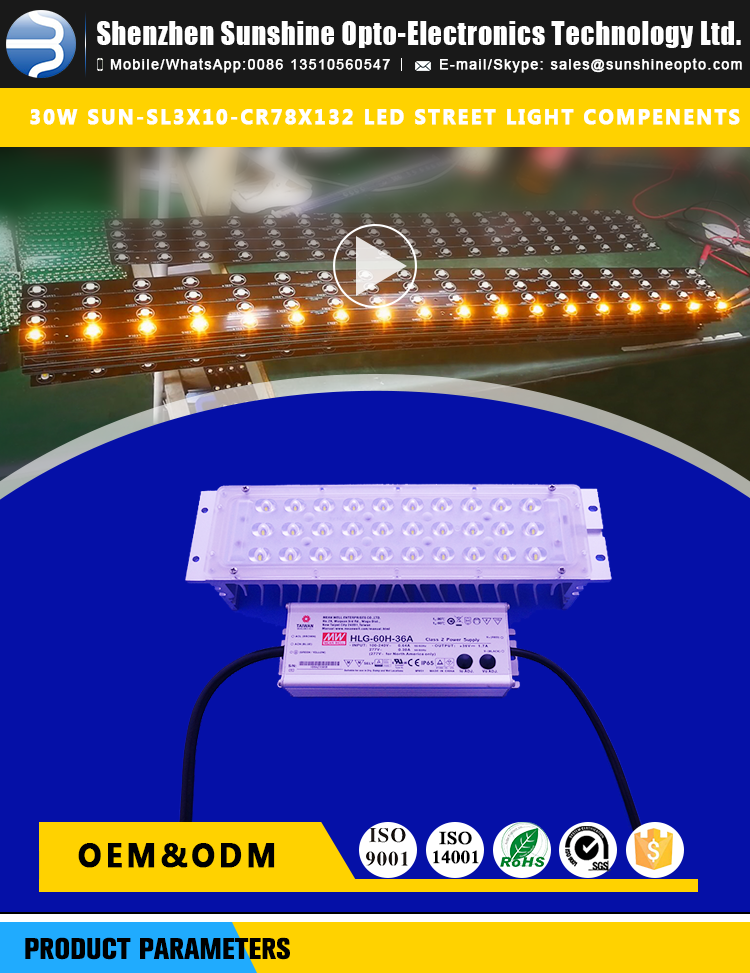 30w Led Retrofit Street Light Parts with Led Module and Lens