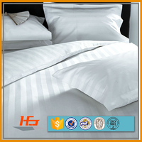 Double Size 240T Poly Cotton 2.6cm White Satin Stripe Bed Sheet set