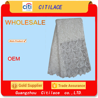 J393-3 white swiss cotton african guipure lace embroidery fabric wholesale