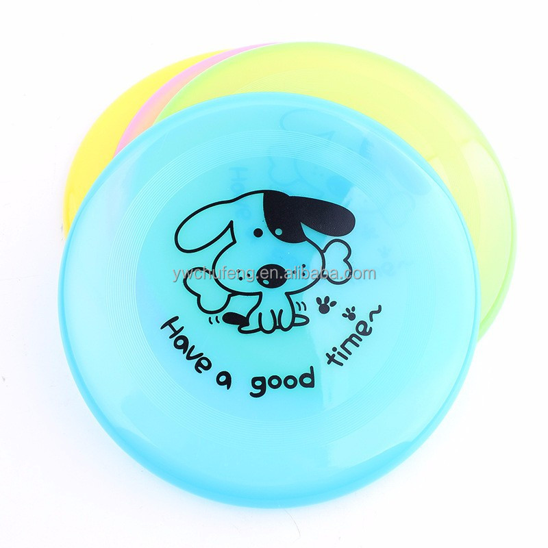 Plastic cartoon dog flying discs printing Plastic pet frisbee small size 20cm