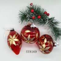 Hand blown clear red handpainted glass Christmas hanging ball
