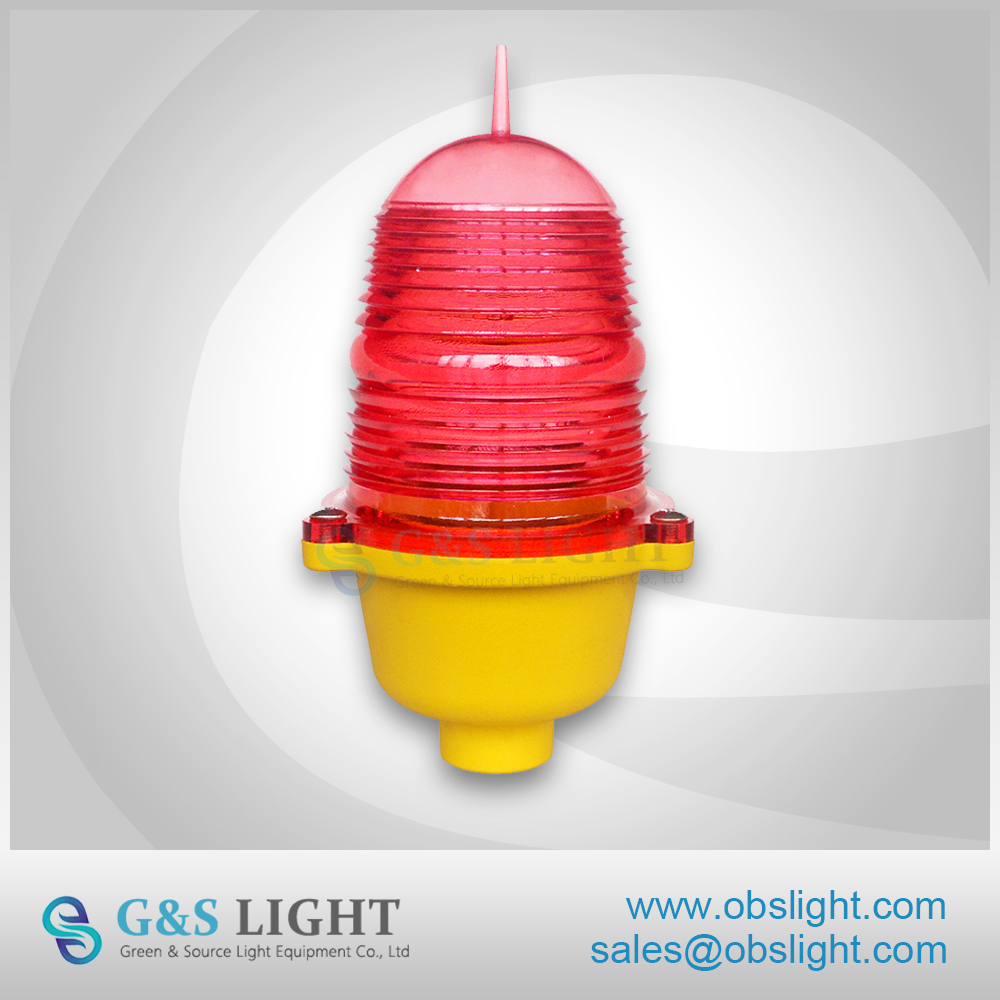 Steady burning red single aviation obstruction light/low intensity LED aircraft warning light/telecom tower light