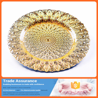 Fashion dinner or dessert/round large capacity plate for daily use decorative tableware glass plates
