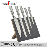 Black Magnetic Block 3Cr14 5Cr15Mov Stainless Steel Kitchen Knife Set with 430 Steel Hollow Handle