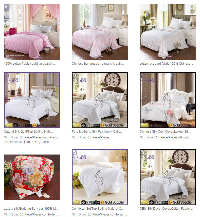 High Quality mulberry silk duvet 100% silk filled cotton printing bedding set