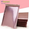 Rose Gold Custom Logo Plastic Courier Envelopes Shipping Mailing Packaging Poly Bubble Mailer Bag