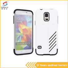 Newest tpu+pc shockproof white color plastic phone back cover for samsung galaxy s5 case