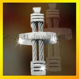 mens titanium cross pendant, stainless steel pendant with wire