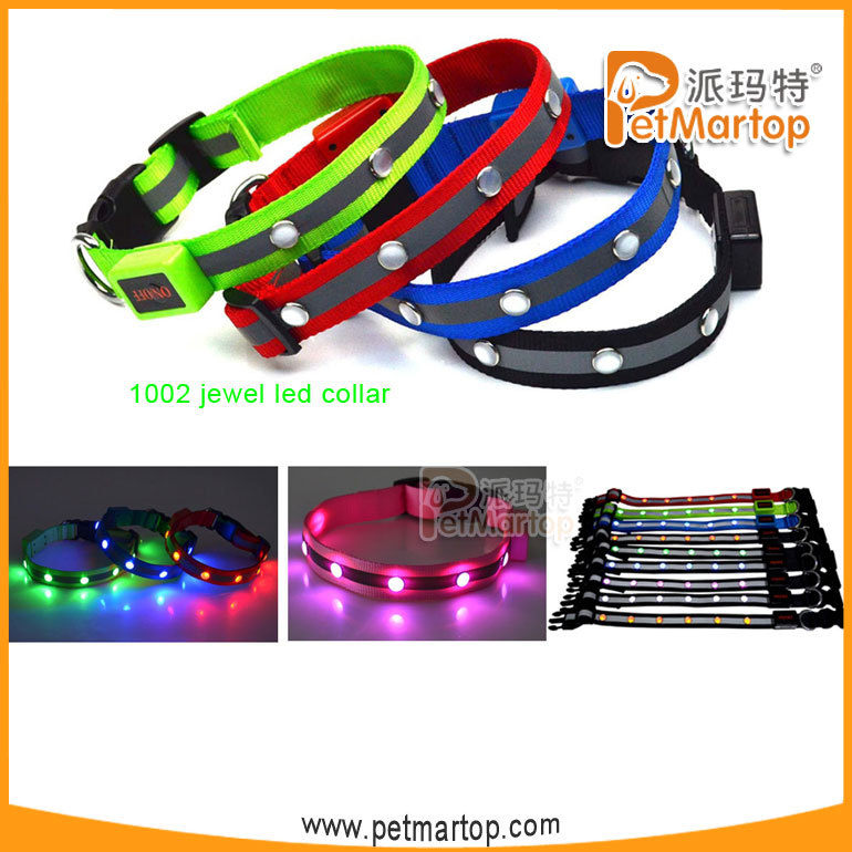 Top selling custom made rhinestone dog led collar TZ-PET1002 new dog products