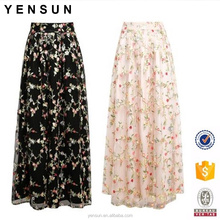 Women Elegant Spring Summer Floral Embroidery Colorful Maxi Skirt Dubai Evening Skirt