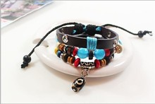 Three Eye Beads Good Luck Charm Bracelet Opal Beaded Leather Bracelet