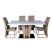 Philippine popular top high gloss mdf dining room table set
