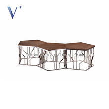 new design hign quality solid wooden top with stainless leg coffee table set side table
