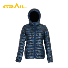 Factory price of fashion camouflage warm hood down jacket for women