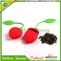 High quality silicone Tea Time Heart Tea Infuser with strawberry shape based on FDA and LFGB standard