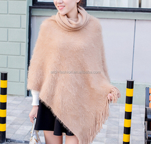 best-selling mohair turtleneck ladies winter ponchos winter sweater ponchos for women