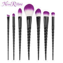 2017 Alibaba Hot Selling 7pcs Black Unicorn Makeup <strong>Brushes</strong>