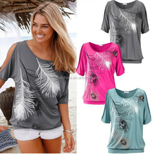 Latest shirt designs for women feather printed strapless short sleeve T-shirt