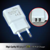 Universal 2.1A Dual USB Travel Charger with EU Plug For iPhone/iPad/Samsung/PSP USB DC 5V 2A EU Plug USB Power Supply Adapter