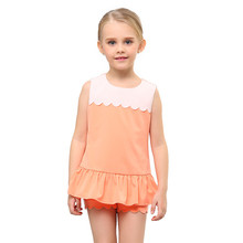 2 Pcs Suit Little Girls' Knit Top+Short Clothes OEM Type Factory Manufacturer From Guangzhou