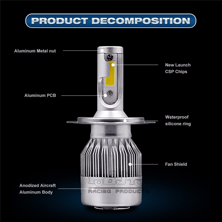 HL-C9-H7 Aluminum Car Auto IP68 72w H7 Hi-lo Beam COB Chips 7200LM LED Headlight Bulb 6000K Led Lamp Bulb