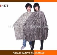Professional 210T polyester waterproof hair salon leopard hair cutting cape