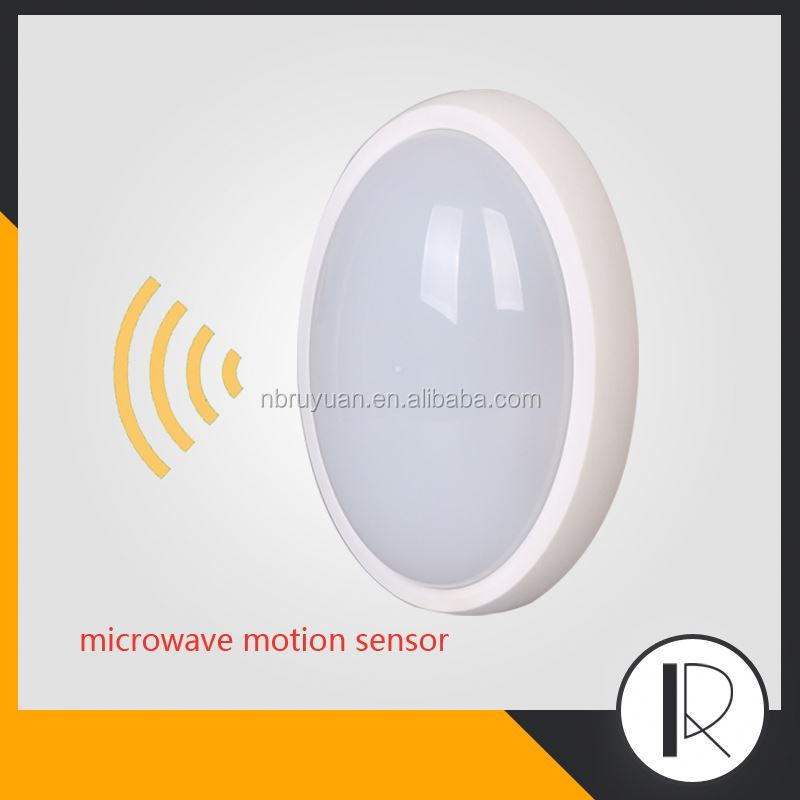 050907 security exterior corner plastic bunker ip65 led bulkhead microwave outdoor led ceiling light motion sensor