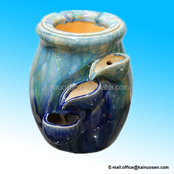 Ceramic Tiering Pot Tabletop Fountain with Plant Holder
