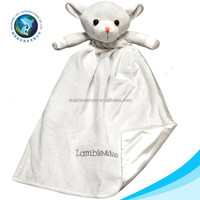 2015 Cute sheep toy organic 100% cotton stuffed plush blanket for newborn baby