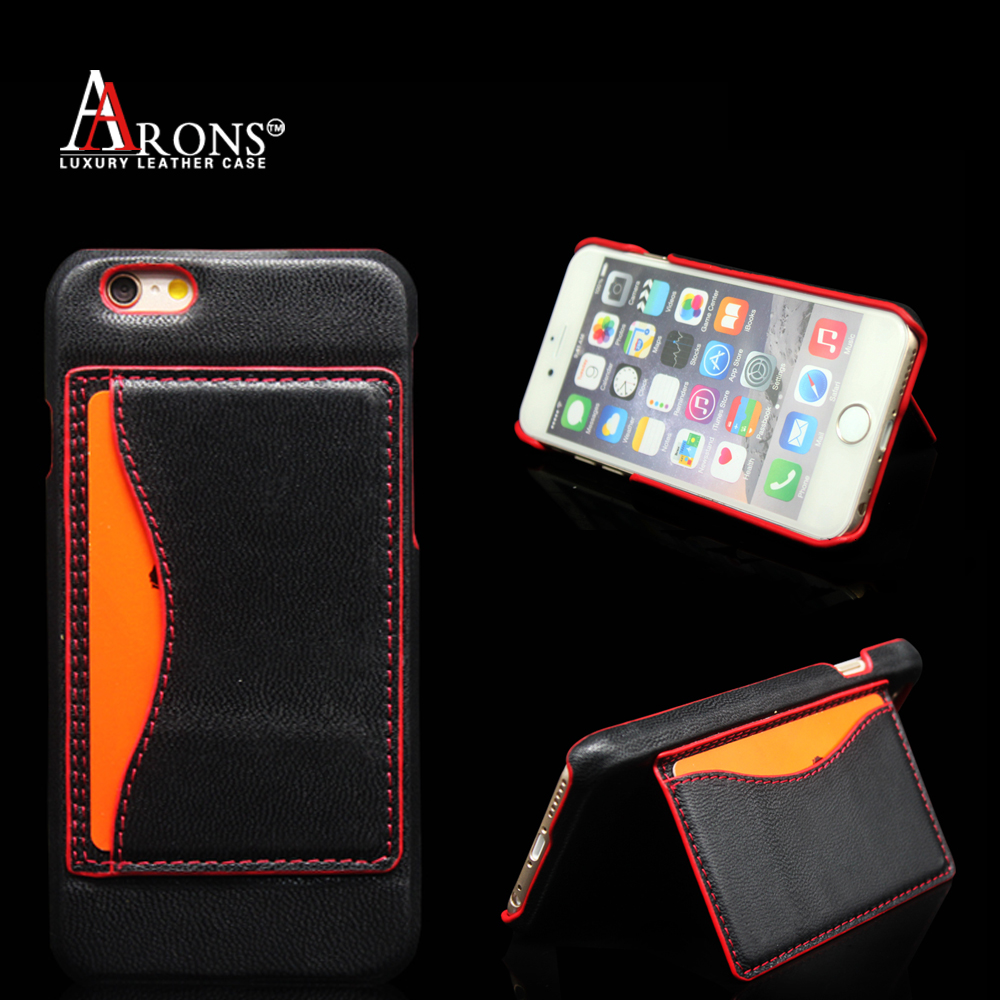 Aaron brand stitching phone case stand type genuine leather back cover for iphone6 plus