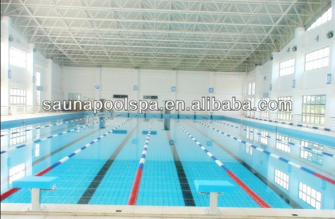 Huge swimming pool construction with steel space frame structure
