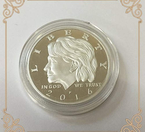Hillary Clinton Presidential Eagle Silver Plated Commemorative Tribute Coin 38mm