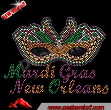 Iron On Mardi Gras Wholesale Rhinestone Heat Transfers For T Shirt