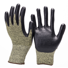 breathable acid and alkali resistant free logo cut resistant nitrile coated smooth gloves