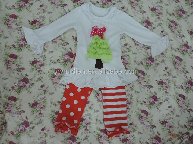 wholesale children's clothes high quality cotton knitted baby girl cute clothes ruffle boutique clothing set clown pants sets