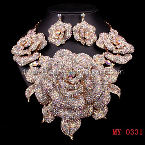Bridesmaid Wedding Bride Necklace Earrings party accessories AB drill with flower decoration set