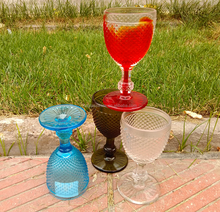 Embossed Marker Cheap Wholesale Custom Vintage Goblet Pressed Colored Wine Glass