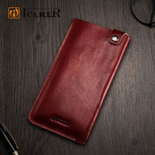 ICARER china supplier wholesale new style mobile accessory genuine leather cover phone case sleeve for iPhone 6 7 plus